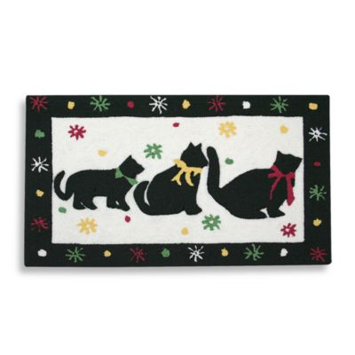 Three Cats in A Row 20-Inch x 32-Inch Pet Mat