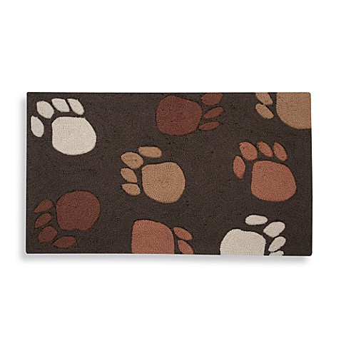 Paw Prints 20-Inch x 32-Inch Brown Pet Mat