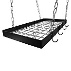 Rogar Rectangular Pot Rack with Chrome Grid in Black