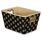 Paw Print Large Tote with Bone-Shaped Grommets in Black