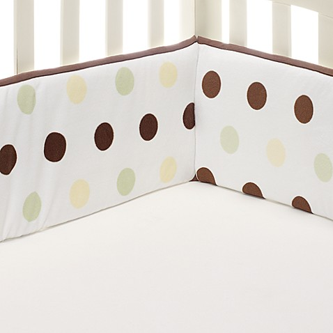 kidsline™ Large Dot 4-Piece Bumper Set in Sage/Brown