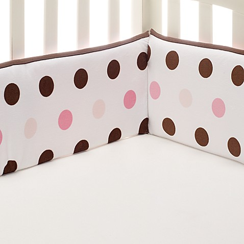 kidsline™ Large Dot 4-Piece Bumper Set in Pink/Brown
