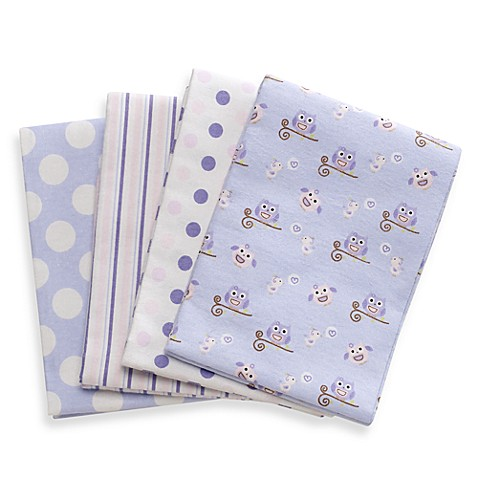 kidsline™ Owl Purple Receiving Blankets (Set of 4)