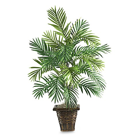 Nearly Natural Areca Palm Silk Plant w/ Wicker Basket