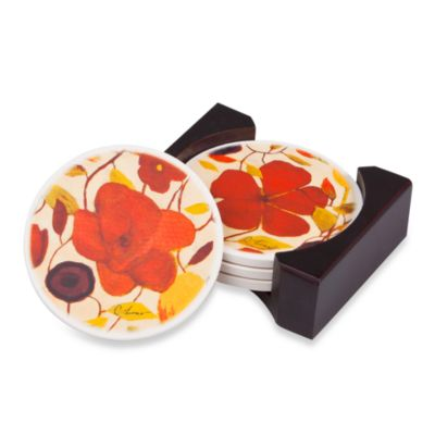 Floral Spice Coaster Set with Caddy