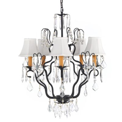 Gallery Wrought Iron 5-Light Chandelier with Crystals & Shades
