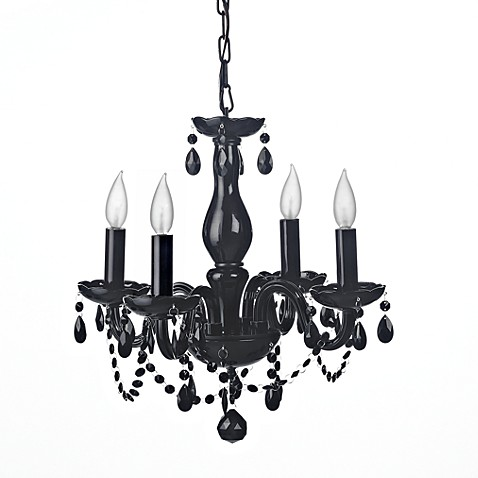 Gallery Jet Black Crystal 4-Light Chandelier