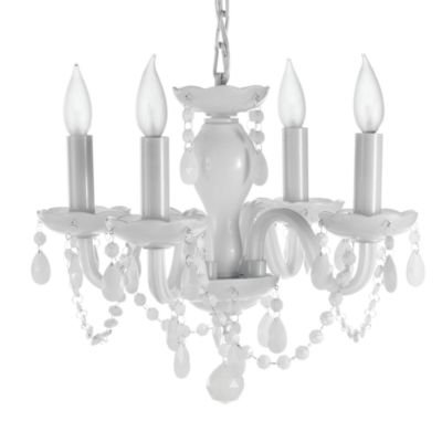 Gallery White Crystal 4-Light Chandelier