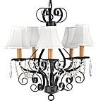 Gallery Wrought Iron 5-Light Chandelier with Crystals and Shades