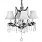 Gallery Wrought Iron 4-Light Chandelier with Crystals and Shades