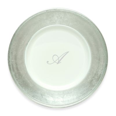 "Charge It by Jay! 13-Inch Silver Letter ""A"" Monogram Charger Plates (Set of 8)"