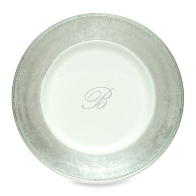"Charge It by Jay! 13-Inch Silver Letter ""B"" Monogram Charger Plates (Set of 8)"