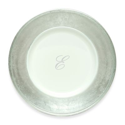 "Charge It by Jay! 13-Inch Silver Letter ""E"" Monogram Charger Plates (Set of 8)"