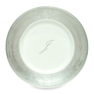 "Charge It by Jay! 13-Inch Silver Letter ""J"" Monogram Charger Plates (Set of 8)"