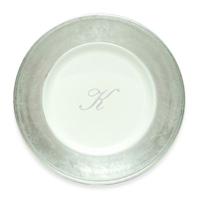 "Charge It by Jay! 13-Inch Silver Letter ""K"" Monogram Charger Plates (Set of 8)"