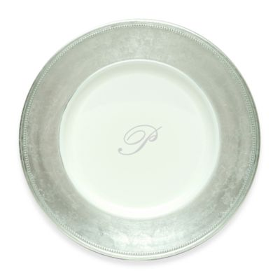 "Charge It by Jay! 13-Inch Silver Letter ""P"" Monogram Charger Plates (Set of 8)"
