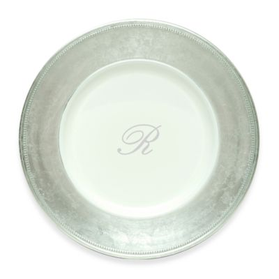 "Charge It by Jay! 13-Inch Silver Letter ""R"" Monogram Charger Plates (Set of 8)"