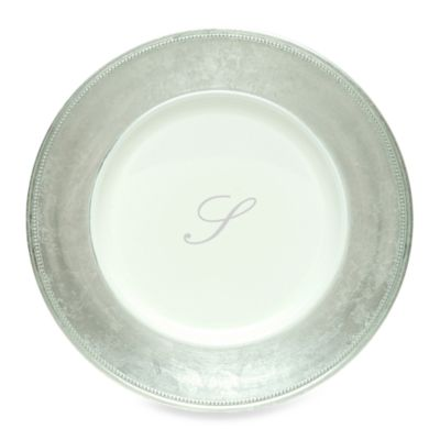 "Charge It by Jay! 13-Inch Silver Letter ""S"" Monogram Charger Plates (Set of 8)"