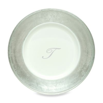 "Charge It by Jay! 13-Inch Silver Letter ""T"" Monogram Charger Plates (Set of 8)"