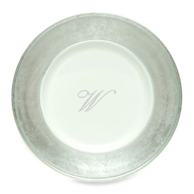 "Charge It by Jay! 13-Inch Silver Letter ""W"" Monogram Charger Plates (Set of 8)"
