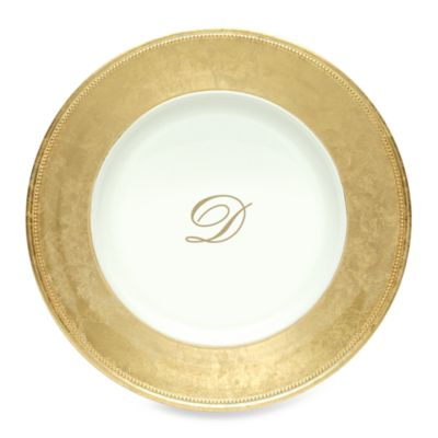 "Charge It by Jay! 13-Inch Gold Letter ""D"" Monogram Charger Plates (Set of 8)"