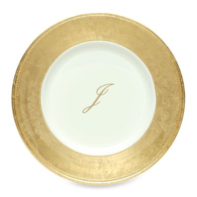 "Charge It by Jay! 13-Inch Gold Letter ""J"" Monogram Charger Plates (Set of 8)"