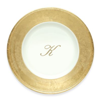 "Charge It by Jay! 13-Inch Gold Letter ""K"" Monogram Charger Plates (Set of 8)"