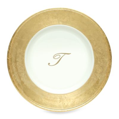 "Charge It by Jay! 13-Inch Gold Letter ""T"" Monogram Charger Plates (Set of 6)"