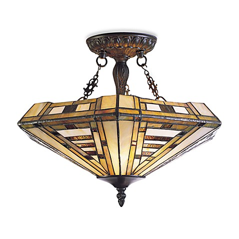 Landmark lighting american art 3 light tiffany semi flush for American classic lighting