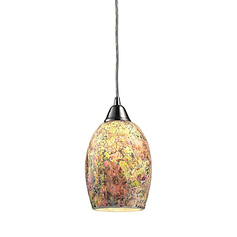 ELK Lighting Avalon 1-Light Mini Pendant in Satin Nickel Green/Pink Speckled Glass