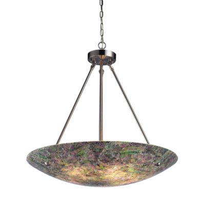 Elk Lighting Avalon 5-Light Pendant in Satin Nickel Green/Pink Speckled Glass