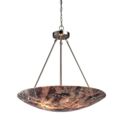 Elk Lighting Avalon 5-Light Pendant in Satin Nickel/Earth Speckled Glass
