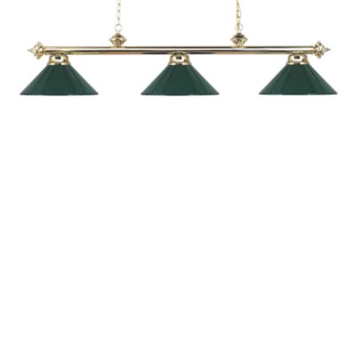 ELK Lighting Casual Traditions 3-Light Island/Billard Pendant in Polished Brass/Green