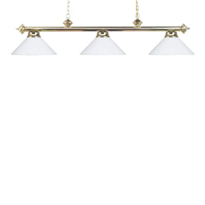 Landmark Lighting Casual Traditions 3-Light Island/Billard Pendant in Polished Brass/White