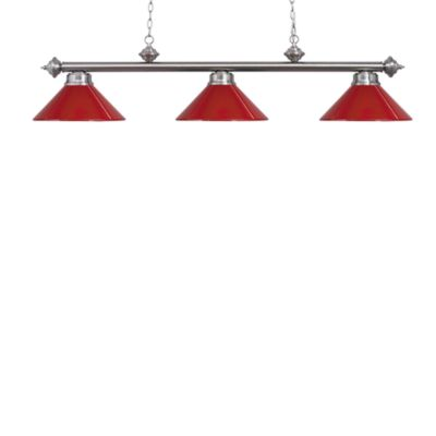 Elk Lighting Casual Traditions 3-Light Island/Billard Pendant in Satin Nickel/Red