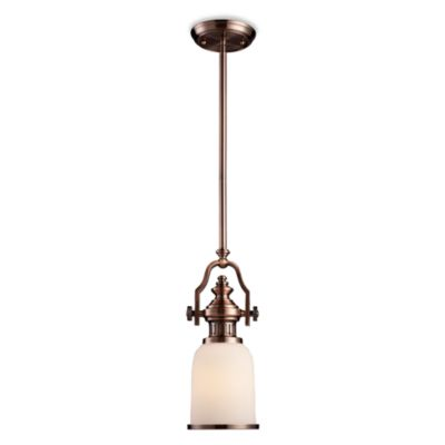 ELK Lighting Chadwick 1-Light Mini Pendant in Antique Copper w/Amber Glass