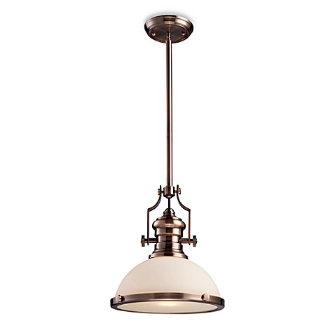 ELK Lighting Chadwick 1-Light Pendant in Antique Copper w/Frosted Glass Diffuser
