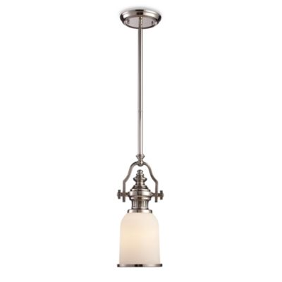 ELK Lighting Chadwick 16.5-Inch 1-Light Pendant in Polished Nickel w/White Shade
