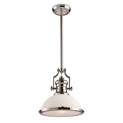 ELK Lighting Chadwick 1-Light Pendant in Polished Nickel w/Frosted Shade