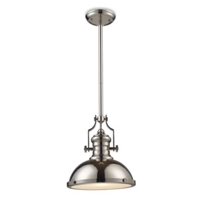 ELK Lighting Chadwick 1-Light Pendant in Polished Nickel with Frosted Glass Diffuser
