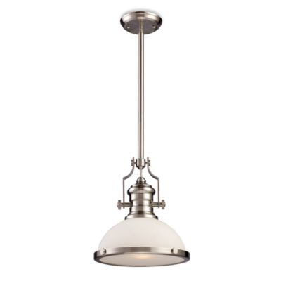 ELK Lighting Chadwick 1-Light Pendant in Satin Nickel w/White Shade