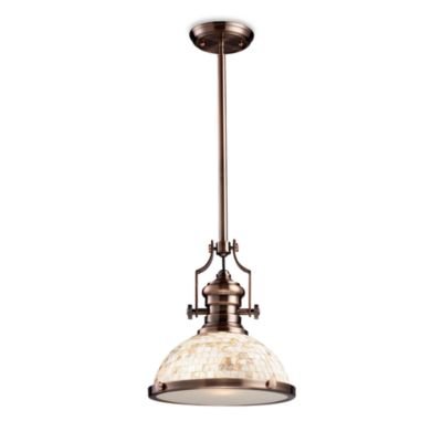 ELK Lighting Chadwick 14-Inch 1-Light Pendant in Antique Copper w/Cappa Shell