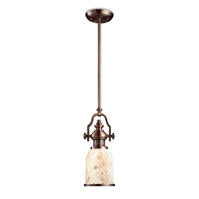 Elk Lighting Chadwick 1-Light Pendant in Antique Copper w/Cappa Shell Shade
