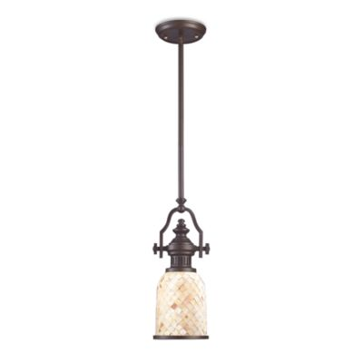 ELK Lighting Chadwick 17-Inch 1-Light Pendant in Oiled Bronze with Cappa Shell Shade