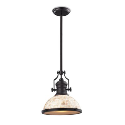 ELK Lighting Chadwick 1-Light Pendant in Old Bronze with Cappa Shell Shade