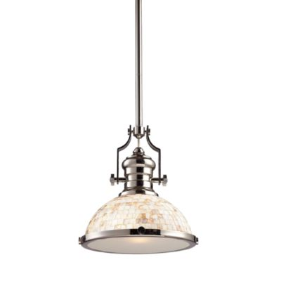 Elk Lighting Chadwick 14-Inch 1-Light Pendant in Polished Nickel w/Cappa Shell Shade