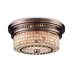 ELK Lighting Chadwick 2-Light Flush Mount in Antique Copper w/Cappa Shell Shade