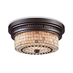 Elk Lighting Chadwick 2-Light Flush Mount in Oiled Bronze w/Cappa Shell Shade
