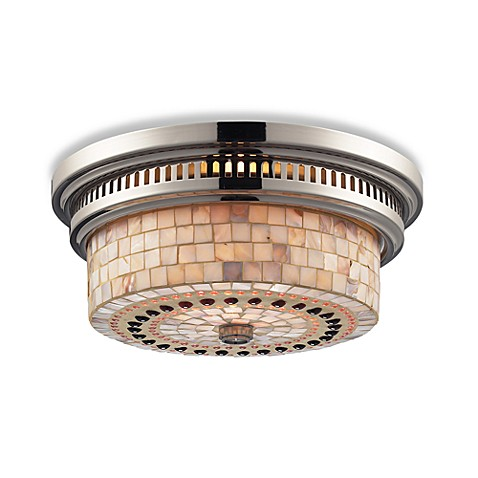 ELK Lighting Chadwick 2-Light Flush Mount in Polished Nickel w/Cappa Shell Shade