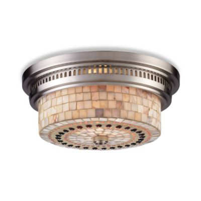Elk Lighting Chadwick 2-Light Flush Mount in Satin Nickel w/Cappa Shell Shade